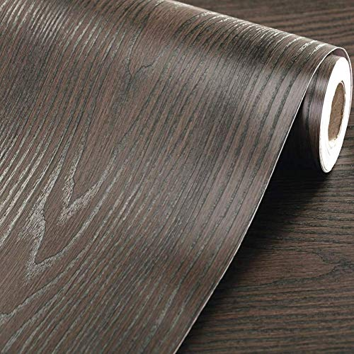 WDragon - Papel Pintado Autoadhesivo Grueso de Grano de Madera marrón Oscuro con Textura de Vinilo, 30 cm x 200 cm