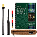 Frazer Warnock Standard Bagpipe Practice Chanter, The Piping Center of Scotland Tutor Book for Highland Bagpipes, 2 Quality Reeds, Breathable Case and Reed Tube Bundle