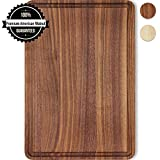 Small Cutting Board Walnut Wood 12x8 Inch Reversible with Juice Groove, Chopping Board Carving Cheese Charcuterie Serving Handmade by AtoHom