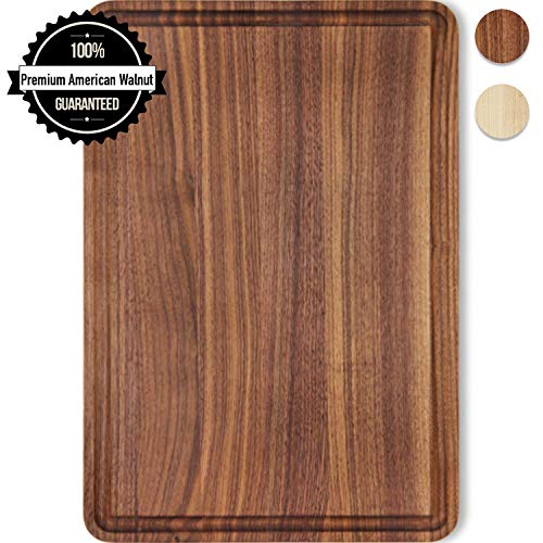 Small Cutting Board Walnut Wood 12x8 Inch Reversible with Juice Groove, Chopping Board Carving Cheese Charcuterie Serving Handmade by AzrHom (Bonus Gift Box)