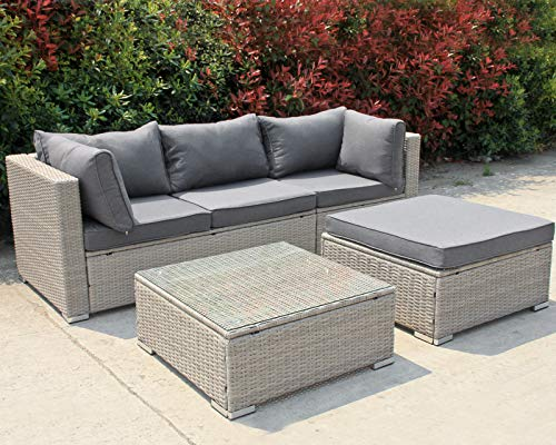 Enjoy Fit Polyrattan Lounge Sitzgruppe Gartenmöbel-Set Poly Rattan Garnitur 3 Sitzplätze, Rattan: Beige/Bezüge: Grau