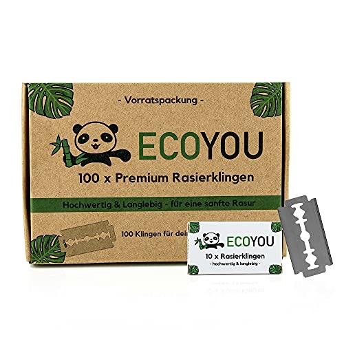 EcoYou Premium Rasierklingen für Rasierhobel set 100 Klingen ✮ rostfreie Ersatzklingen für Rasierhobel Damen und Herren ✮ Hochwertige Rasier Klingen langlebig - Razor Blades