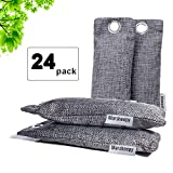 Marsheepy 24 Pack Activated Bamboo Charcoal Air Purifying Bags, Activated Charcoal Odor Absorber, Odor Eliminator for Car, Pet, Closet, Bathroom (75g per Pack)