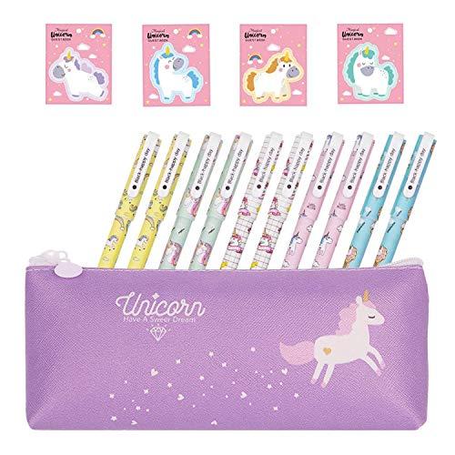 Yuccer Bolígrafos de Unicornio para Niñas Estuche Unicornio Papelería Unicornio Notas Adhesivas Colores Regalo de Cumpleaños Escolar para Niños 15 Piezas (Lona)
