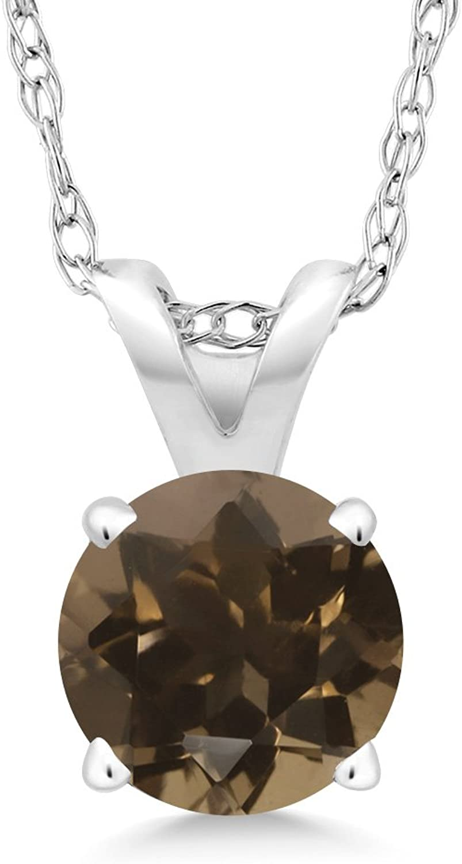 0.46 Ct Round Brown Smoky Quartz 14K White gold Pendant With Chain
