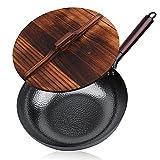 SHIXIMAO Sartén de acero al carbono de 12,5 pulgadas, woks y sartenes para freír con tapa Cocina Cookwar para estufas de gas eléctricas Wok inferior plana (color: 1, tamaño: 32 cm)