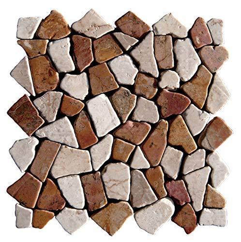 Naturstein Marmormosaik - M-1-004 - 1m² = 11 Fliesen - Bruchstein-Mosaikfliesen Wandfliesen Bodenfliesen - Fliesen Lager Verkauf Stein-Mosaik Herne NRW
