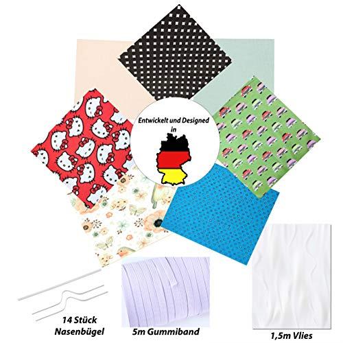 OzeanKonzept Baumwollstoffe zum Nähen Meterware, 50x50 cm Patchwork Stoffe Paket inkl. 5m Gummiband, Nasenbügel und Vliesstoff - DIY Stoff Packet Baumwolle Nähset