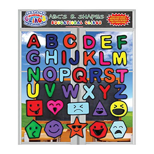 Alphabet and Shapes Gel Clings - Flexible Reusable Glass Window Clings for Kids and Toddlers - ABC Letters Octagon, Square with Silly Faces - Educational Fun for Home, Airplane, Classroom, Nursery