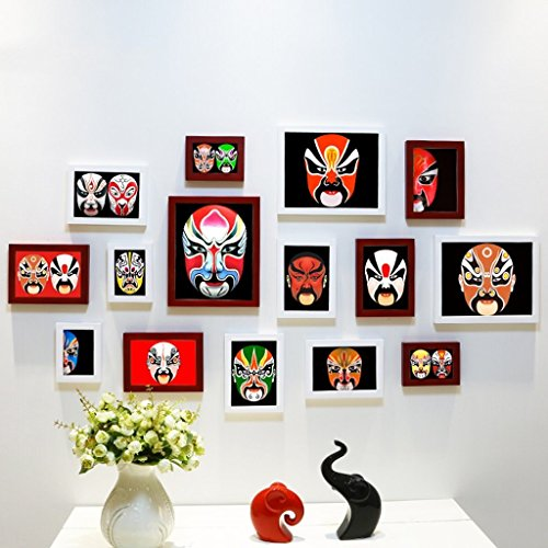 Juillet Cadre photo mural Portefeuille simple et moderne de mur de photo de chambre à coucher de salon/mur de fond de cadre de photo créative/masque d'opéra de Pékin mur de photo (Couleur : K)