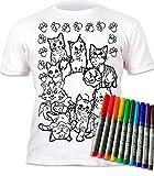 Splat Planet Camiseta Niños y Niñas Gatos. con impresión para Colorear. Se suministra con 6 lápices de Colores Magic Lavables. Cumpleaños Infantiles. Talla 9-11 años.