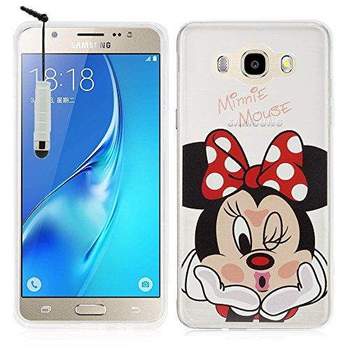 VComp-Shop - Custodia protettiva trasparente in silicone TPU con motivo Disney per Samsung Galaxy J5 (2016) + mini pennino capacitivo, motivo: Minnie Mouse