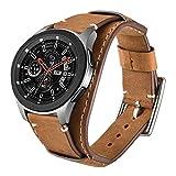 Leotop Correa Compatible con Samsung Galaxy Watch 42mm/Active/Active 2 40/44mm/Gear S2/Gear Sport, 20mm Pulsera de Cuero Reemplazo Banda de Bucle Acero Inoxidable para Mujeres Hombres (20 mm, Marrón)
