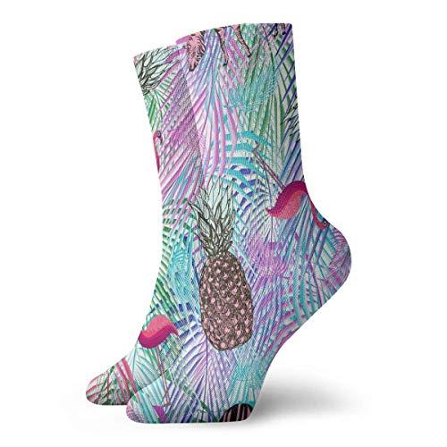 shenguang Calcetines cortos coloridos de flamenco de piña de hoja de palma de colores, calcetines de equipo loco, calcetines de tobillo con decoración de moda para hombres y mujeres