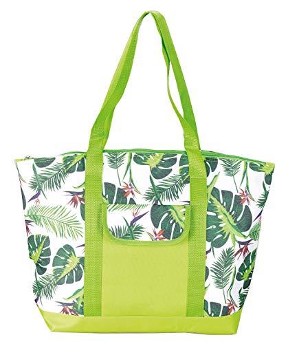 Idena Unisex– Erwachsene Kühltasche Tropical mit 14 Liter Fassungsvermögen, ca. 45 x 12 x 32 cm, mit Zwei Tragegriffen, Vortasche und Reißverschluss, ideal für Picknick, Urlaub und Camping, grün