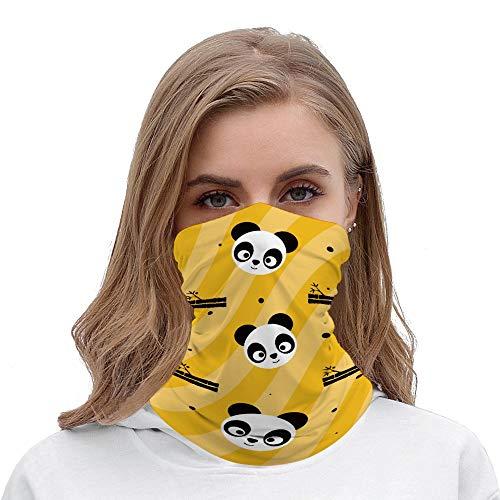 Unisex Headband Elastic Seamless Bandana Scarf, Cute Panda Design Bandanas Face Mask Headwear for Yoga Hiking Riding Motorcycling