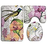 XIEXING Alfombrilla Orchids in Bloom Fashion Bathroom Rug Mats Set 3 Piece Anti-Skid Pads Bath Mat + Contour + Toilet Lid Cover