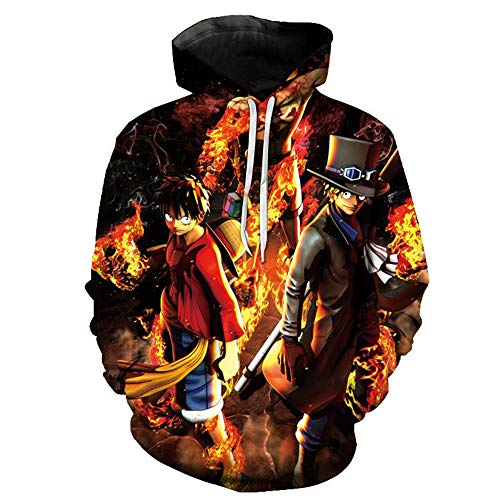 GZBSTDQ Unisex 3D Druck Hoodie Kapuzenpullover Langarm Sweatshirts Herren Damen HD Anime Print Kapuzenjacke Mode Drawstring Taschen Fun-Kapuze Pullover T-Shirt Sweater One Piece XS