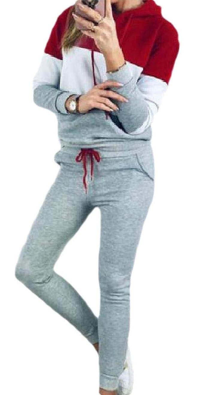 打ち上げる崇拝するマンハッタンWomen Color Block 2 Piece Set Tracksuit Long Sleeve Hoodie and Pants