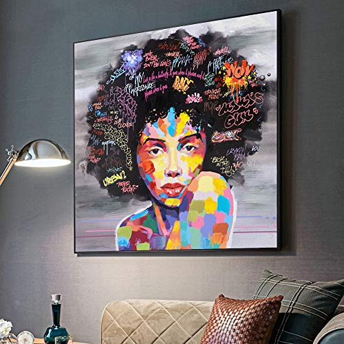 Verve Jelly African American Woman Painting Wall Art Printed on Canvas Abstract Picture Modern Style Artwork for Living Room Bedroom Home Decor No Frame (20 x 20 inch)