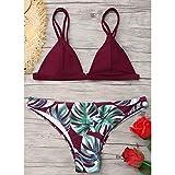 jieGorge Traje de baño para Mujer, Traje de baño para Mujer Conjunto de Bikini Estampado de Hojas Push-Up Traje de baño Acolchado Ropa de Playa, Traje de baño Control de Barriga (Vino Rojo S)