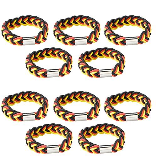 Juego de 10 pulseras de Alemania de color negro, rojo y dorado, para hombre, unisex