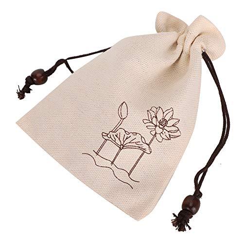 Bolsa de embalaje de joyas, práctica y práctica bolsa de almacenamiento con cordón para almacenamiento doméstico para almacenamiento de joyas(Natural printing lotus)