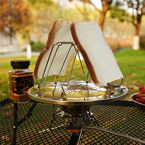 Alician - Tostadora plegable de acero inoxidable para uso al aire libre, portátil, para acampada, tostadora, multiusos, estufa de parrilla de productos al aire libre