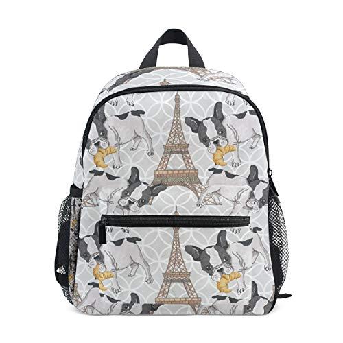 KUWT Paris Eiffel Tower French Bulldog Backpack Kids Toddler Child School Bag for Preschool Kindergarten Boy Girls