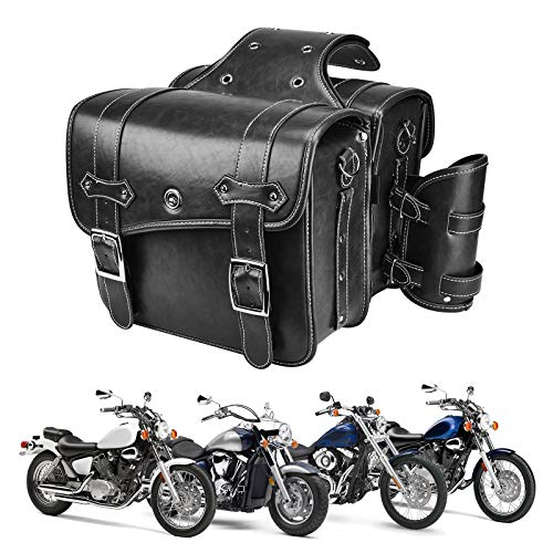 Leather Motorcycles Saddlebag Throw Over Saddle Bag with Cup Pocket for Sportster Softail Dyna Road...