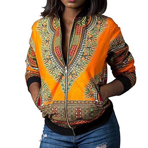 SUCES Frühling Herbst Damenmode Vintage Muster Bomberjacke Damen Reißverschluss Fliegerjacke Bikerjacke Kurzjacke Frauen Langarm Sweatshirt Jacke Outwear Baseball Mantel Coat Tops