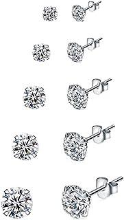 5 Paare 925 Silber Ohrringe Set Ohrstecker Damen Silber Ohrringe Stecker Diamant Ohrringe Mädchen Ohrringe Damen Silber Oh...