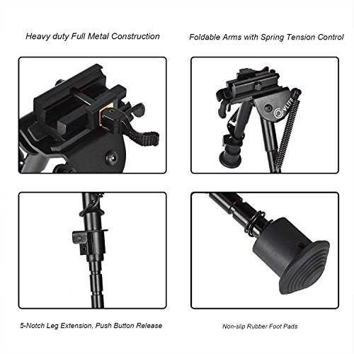 CVLIFE Rifle Bipod, 6-9 Inches Picatinny Bipod w/Quick Release Adapter