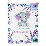 Personalized Baby Blanket, Purple Teal Elephant Custom Nursery Swadding Blankets 30x40 Inches for Baby Boy Girl with Name Baby Shower Birthday Gift