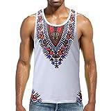 Luxfan Mens Summer Sleeveless Tribal Dashiki Tank Tops Casual White African Shirt(White,M)