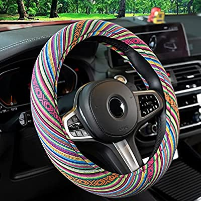 Green Steering Wheel Cover for Women and Men,15 inch Universal Baja Blanket Car Steering Wheel Cover with Ethnic Style Coarse Flax Cloth,Hippie Car Accessories