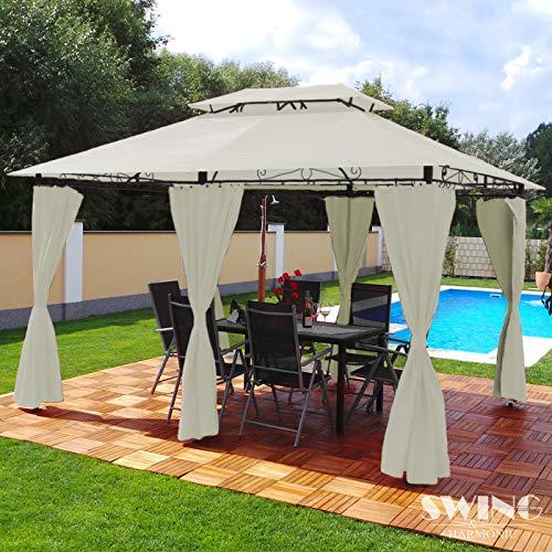 Swing & Harmonie Luxus Pavillon 3x4m Minzo - inklusive Seitenwände Gartenpavillon Partyzelt Gartenzelt (ohne Moskitonetz, Creme)
