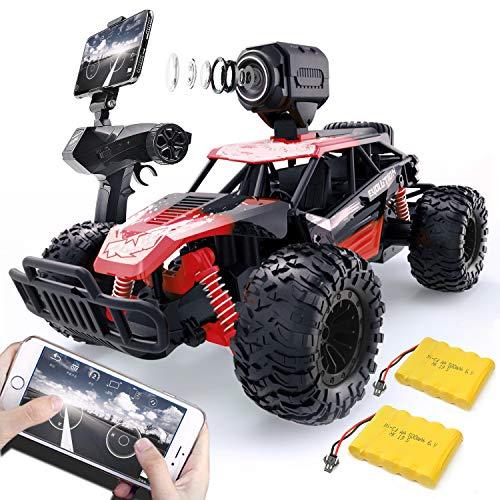 Gizmo RC Coche Teledirigido Vehículo Hobby, Una Cámara WiFi 480P Monster Truck 2.4GHz 1/14 Camino Coches Juguetes Radiocontrol Eléctric Monstruo para Niños y Adultos.(2 Batería) (Rojo-480P)