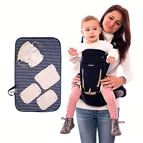 Marsupio Neonati Ergonomico Con Fasciatoio Portatile Zaino Porta Bimbi Multiposizione Regolabile Porta Bebè Certificato Multifunzione Per Bambini 0-36 Mesi...