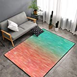 Area Rugs Boho Rug Flannel Fabric Carpet Fuzzy Rugs for Bedrooms Girls Blue Peach Coral Turquoise Watercolor Teal Orange Aqua