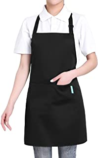 esonmus Delantal de Cocina de Poliéster, con Tira de Cuello Ajustable y 2 Bolsillos, para Hornear Jardinería Restaurante B...