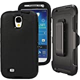 Galaxy S4 Case,S4 Holster Case,Auker 3 Layer Shock Absorption Drop Proof Scratch Resistant Built-in Screen Protector Full Body Protective Defender Case with Belt Clip for Samsung Galaxy S4 (Black)