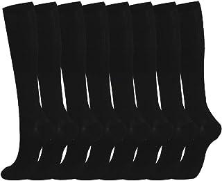 Compression Socks 8 Pairs 15-20 mmhg BEST Graduated Athletic Medical for Men Women Running Flight Travels (Black, L/XL, m)