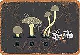 BIGYAK Mushroom Car Iron Vintage Look 20 x 30 cm Decoración Cartel de Pintura para Hogar Cocina Baño Granja Jardín Garaje Citas Inspiradoras Decoración de Pared