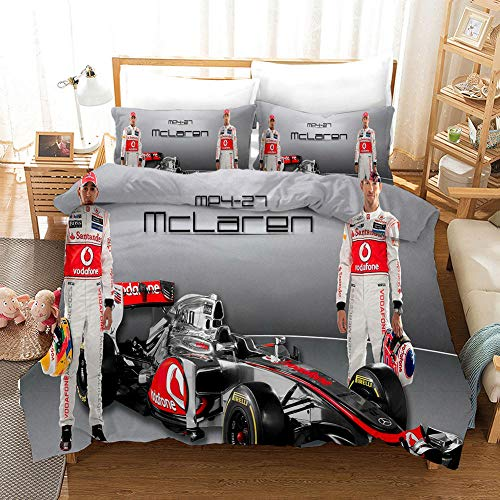 Duvet Cover Formula F1 Single bed Printed Polyester with Zipper Closure Bedding Easy Care Anti-Allergic Soft Smooth with Pillow Cases 3 pcs set, grey