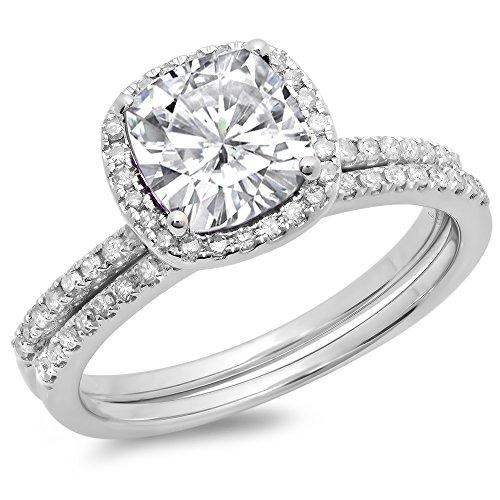 Dazzlingrock Collection 18K White Sapphire & White Diamond Bridal Halo Engagement Ring Set 1 3/4 CT, White Gold, Size 7