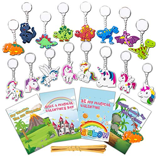 26 Pcs Valentines Day Gifts Cards for Kids Classroom School Craft Bulk with Unicorn Dinosaur Charm Keychain Toys Set Preschool Class Valentine Greeting Exchange Card Party Favors for Boys Girls Toddlers Children