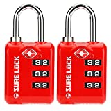 SURE LOCK TSA Approved 3 Digit Luggage Locks with Zinc Alloy Body