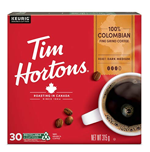 Tim Hortons Colombian Coffee, Single Serve Keurig K-Cup Pods, Dark Medium Roast, 30 Count {Imported from Canada}