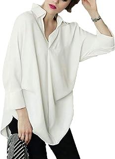 Frieed Women Stylish Batwing Sleeve V Neck Loose Plain Lapel Shirt Blouse